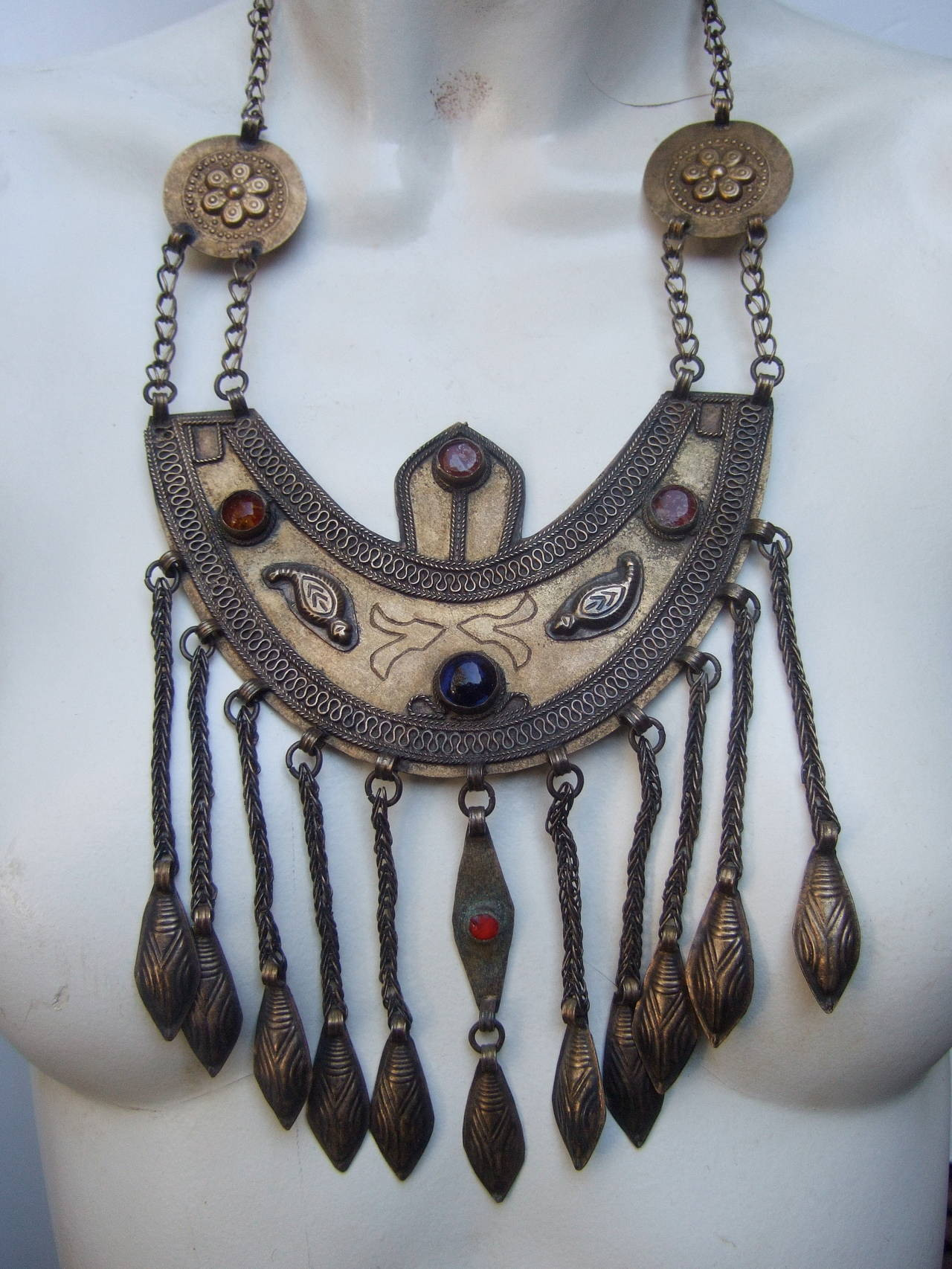 Massive Egyptian Revival Style Jeweled Serpent Ceremonial Necklace For Sale 1