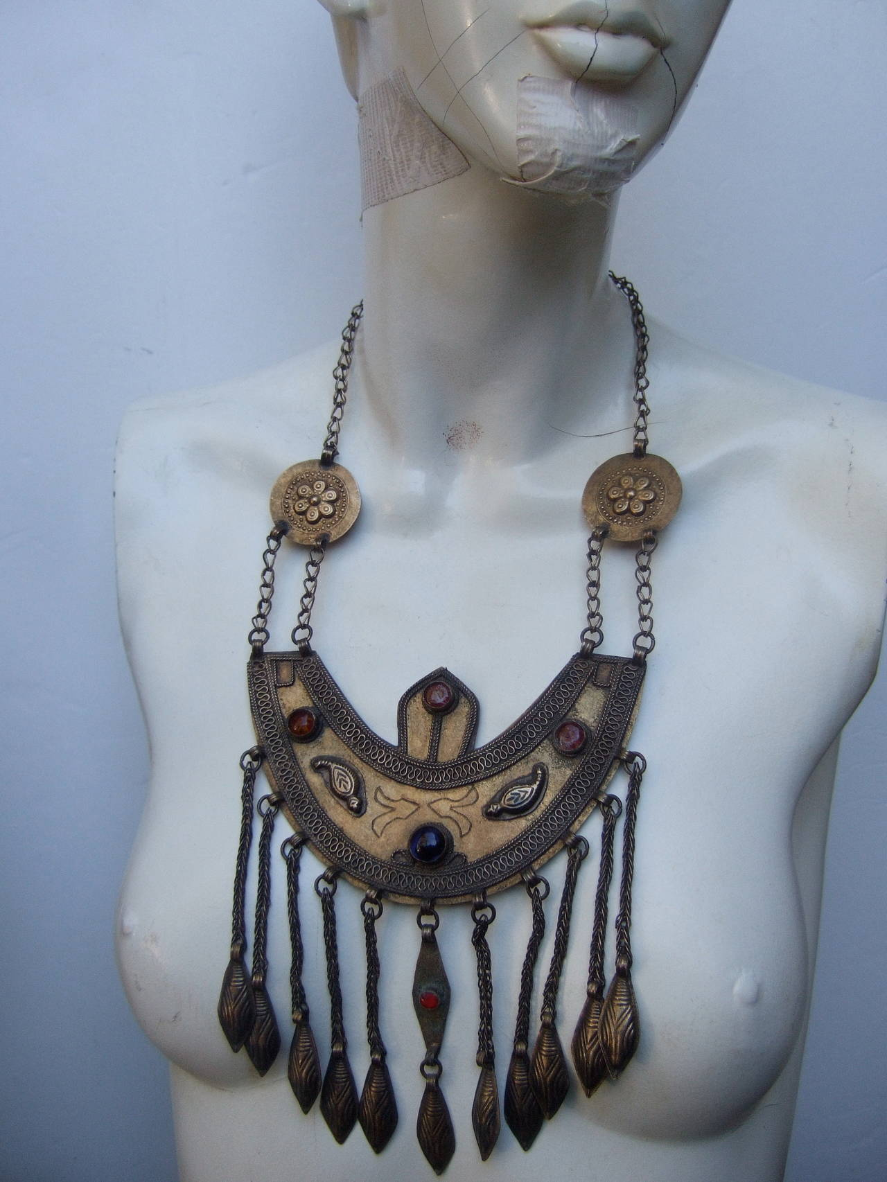Massive Egyptian Revival Style Jeweled Serpent Ceremonial Necklace For Sale 4