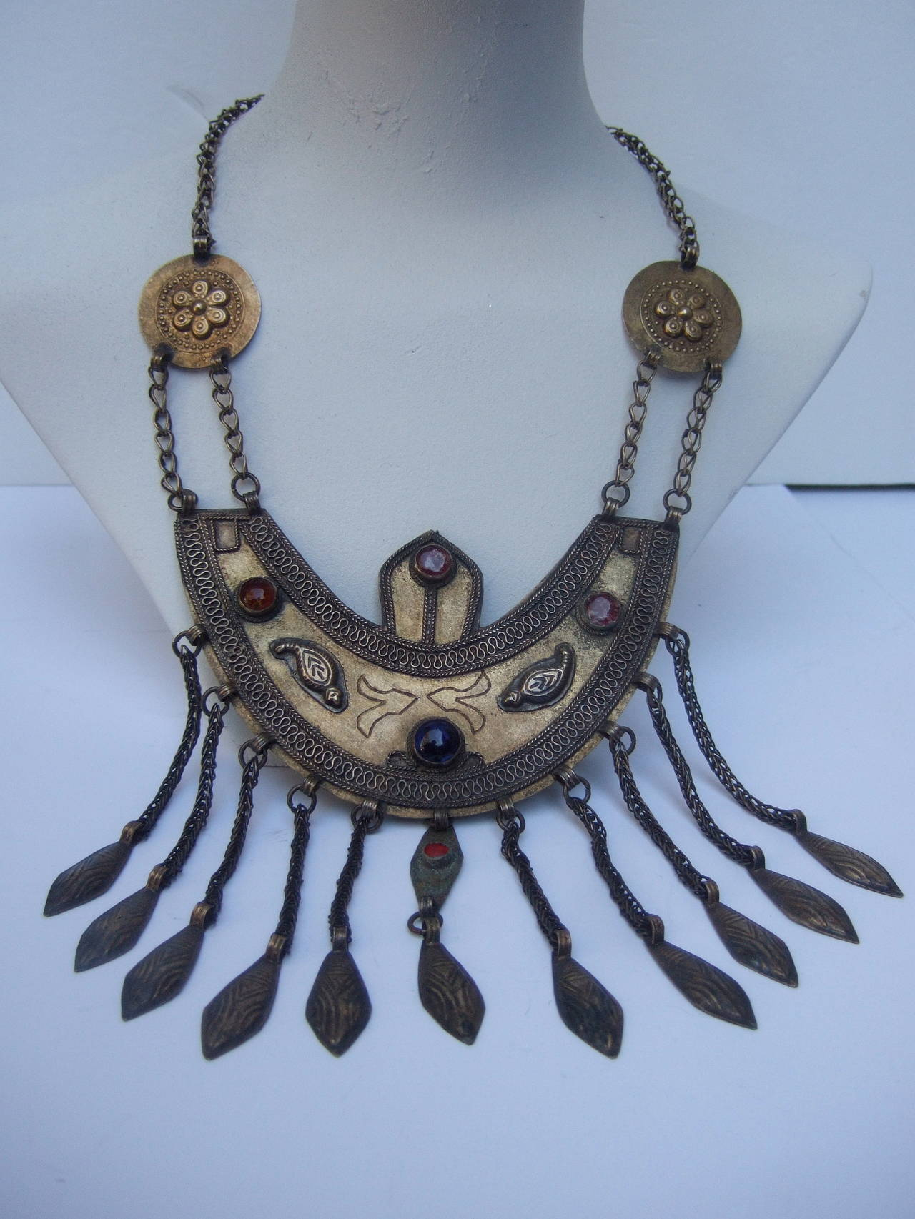 Massive Egyptian Revival Style Jeweled Serpent Ceremonial Necklace For Sale 3