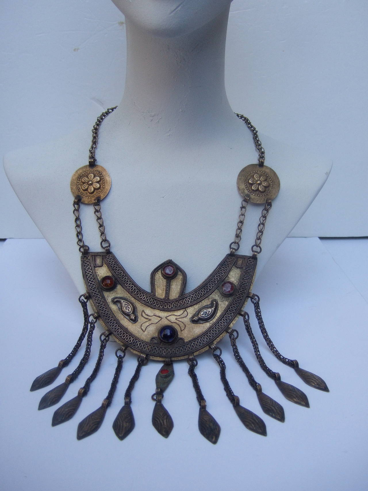 Women's Massive Egyptian Revival Style Jeweled Serpent Ceremonial Necklace For Sale