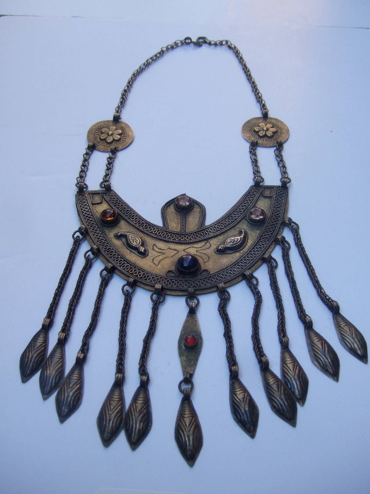 Massive Egyptian Revival style jeweled serpent ceremonial necklace c 1970s