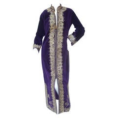 Exotic Moroccan Violet Velvet Embroidered Evening Caftan c 1960s
