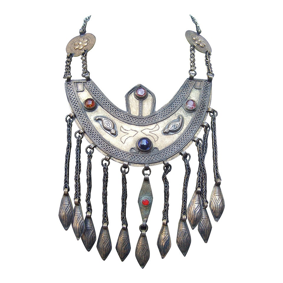 Massive Egyptian Revival Style Jeweled Serpent Ceremonial Necklace For Sale