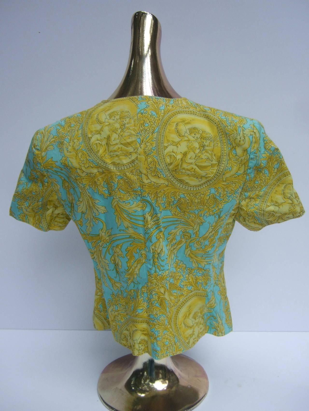 Versace Vibrant Print Medusa Button Cotton Jacket US Size 10 For Sale 2