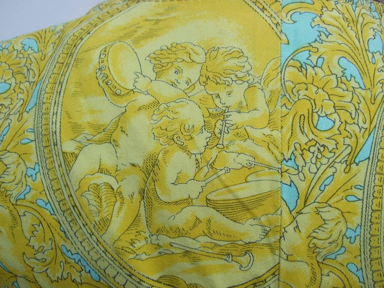 Versace Vibrant Print Medusa Button Cotton Jacket US Size 10 For Sale 1