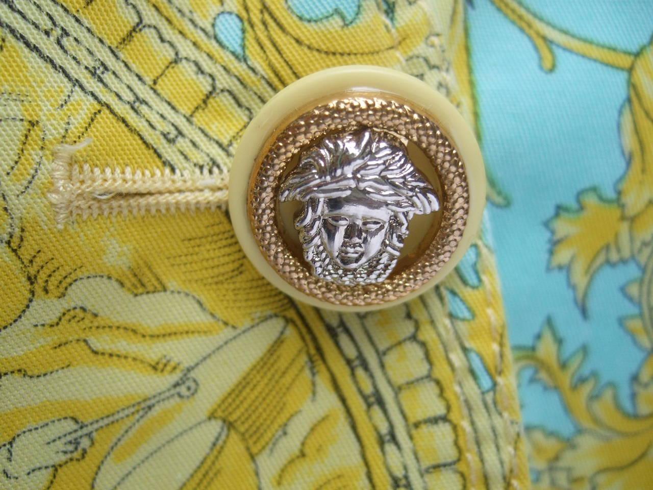 Brown Versace Vibrant Print Medusa Button Cotton Jacket US Size 10 For Sale