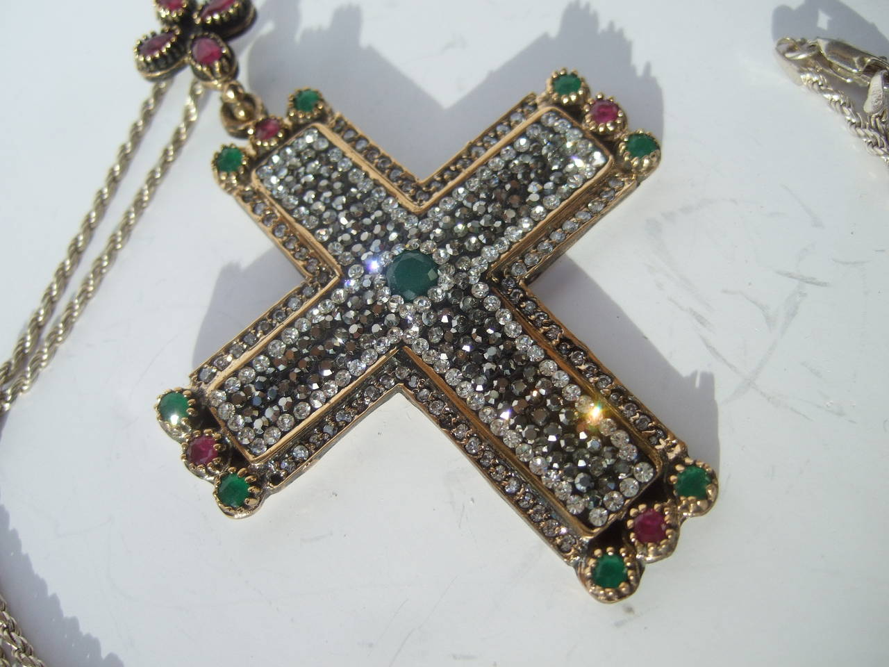 Sterling Large Crystal And Semi Precious Jeweled Cross