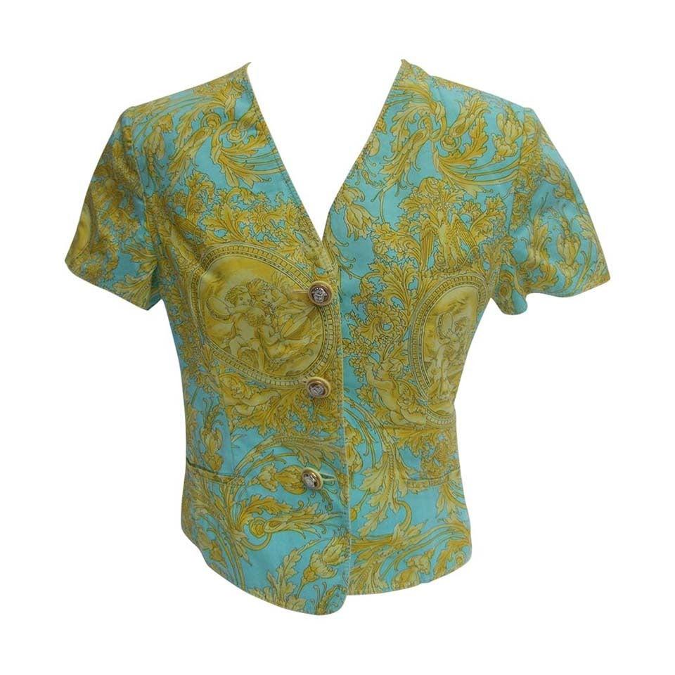 Versace Vibrant Print Medusa Button Cotton Jacket US Size 10 For Sale