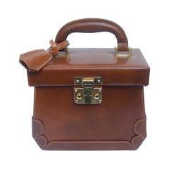 Henri Bendel Caramel Brown Leather Train Case Handbag Made in Italy