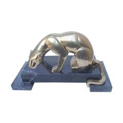 Sleek Brass Metal Panther Figure on Marble Base c 1970s
