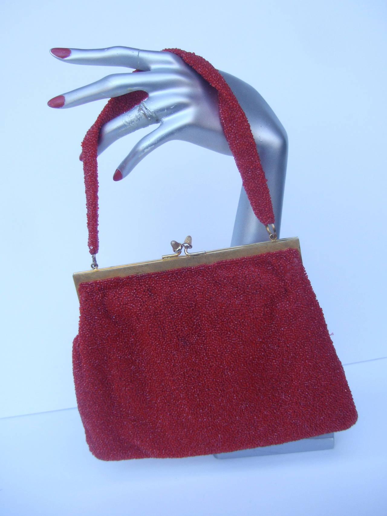 Gucci Exquiste Scarlet Glass Beaded Evening Bag C 1970 ZtdRUR8