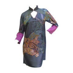 Etro Exotic Silk Print Tunic Dress Made in Italy Size 40