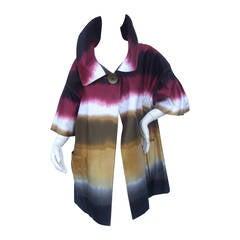 Mod Cotton Print Tie Dyed Duster Coat Designed by Ellen Tracy