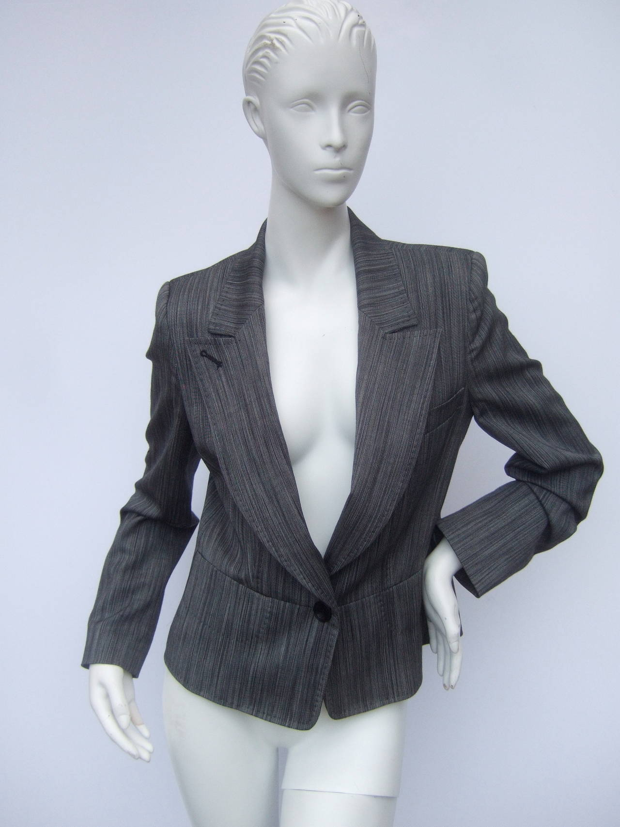 Herve Leger Paris Gray wool tailored jacket US Size 4 For Sale 1