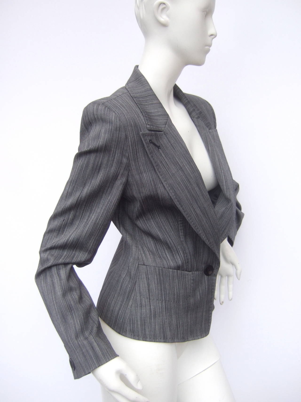 Black Herve Leger Paris Gray wool tailored jacket US Size 4 For Sale