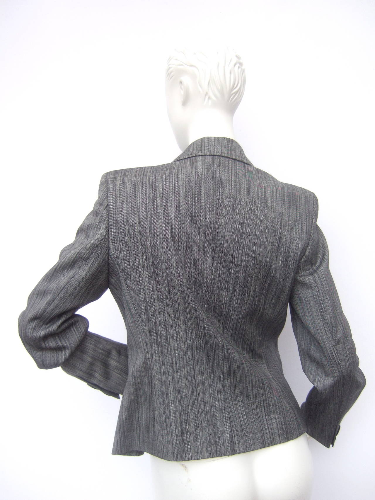 Herve Leger Paris Gray wool tailored jacket US Size 4 For Sale 2