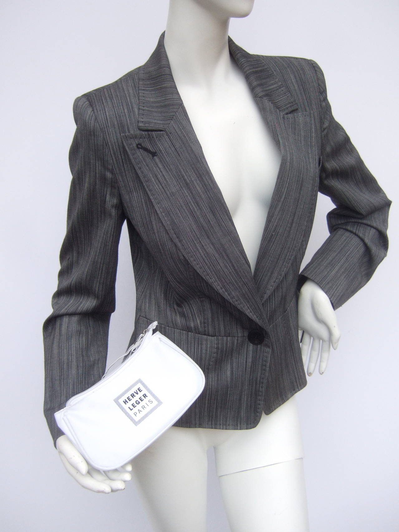 Herve Leger Paris Gray wool tailored jacket US Size 4 In Excellent Condition For Sale In Santa Barbara, CA