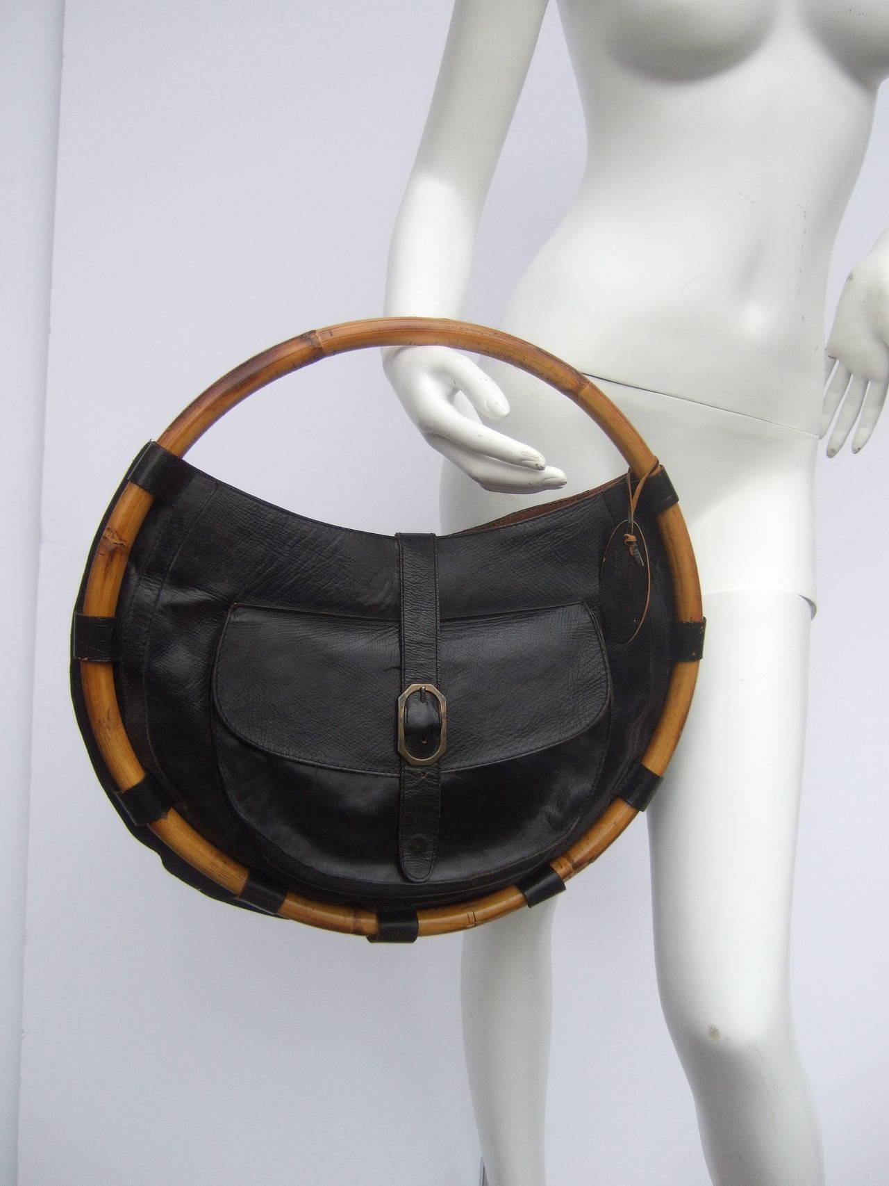 Avant Garde Black Leather Circular Bamboo Handbag Made In