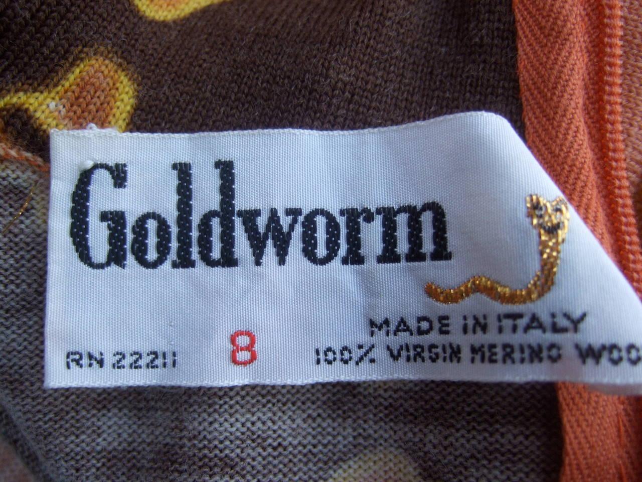 Italian Floral Print Merino Wool Knit Dress c 1970s For Sale 4