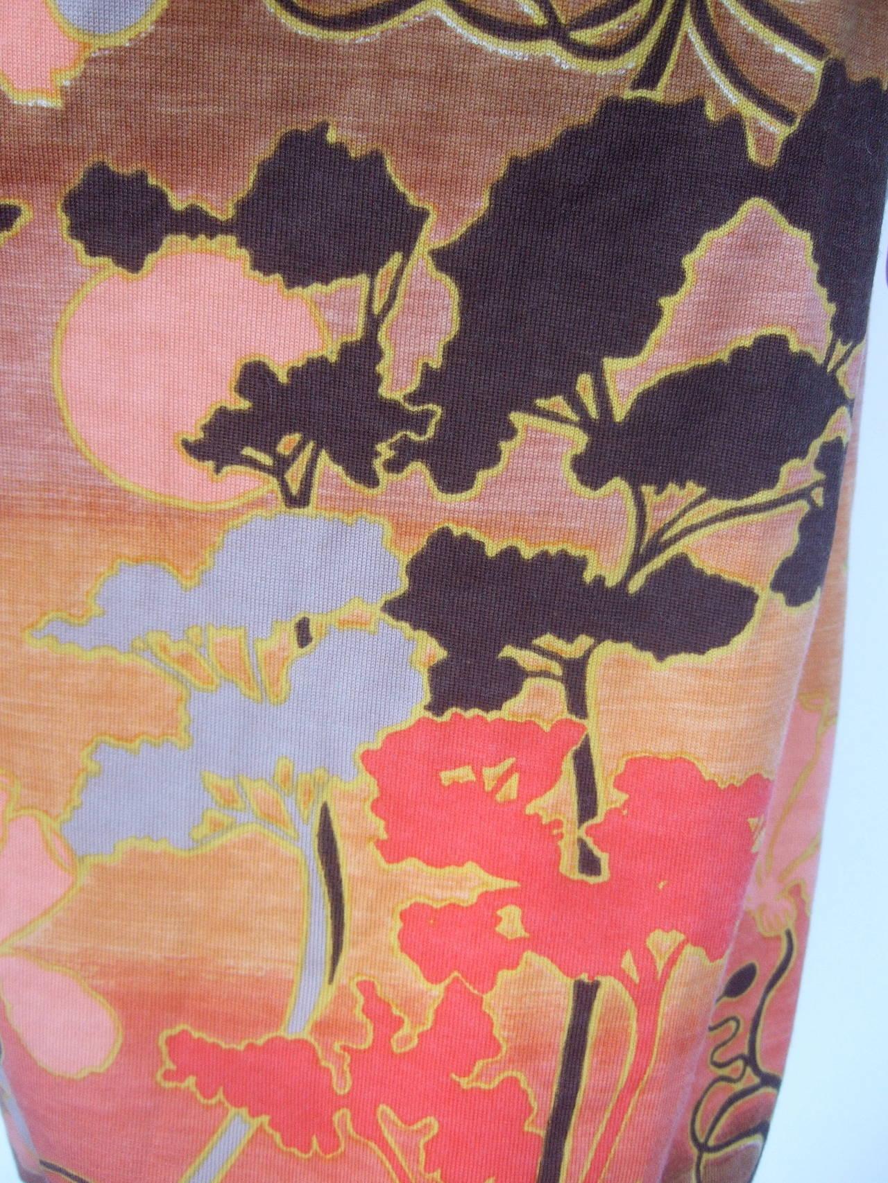 Italian Floral Print Merino Wool Knit Dress c 1970s For Sale 1