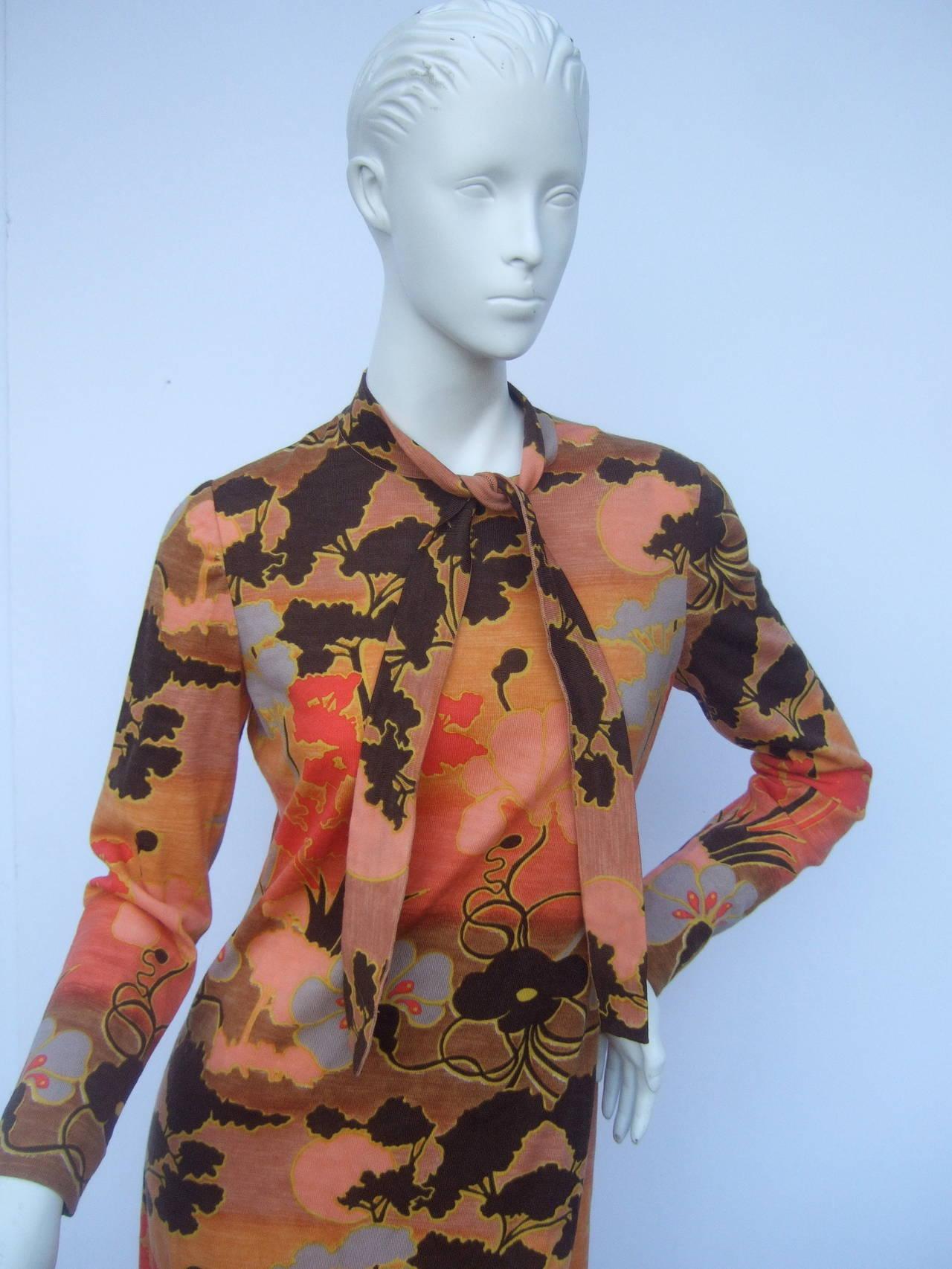 Women's Italian Floral Print Merino Wool Knit Dress c 1970s For Sale