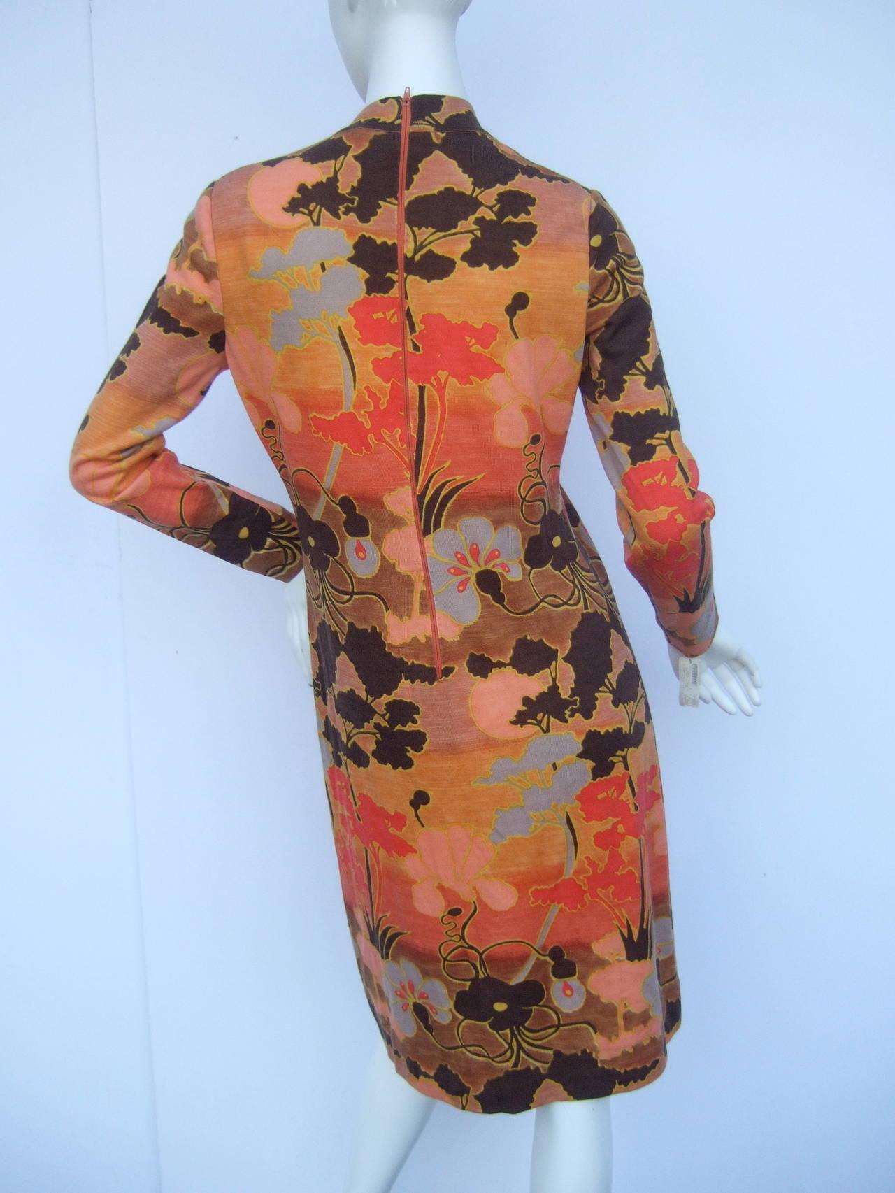 Italian Floral Print Merino Wool Knit Dress c 1970s For Sale 2