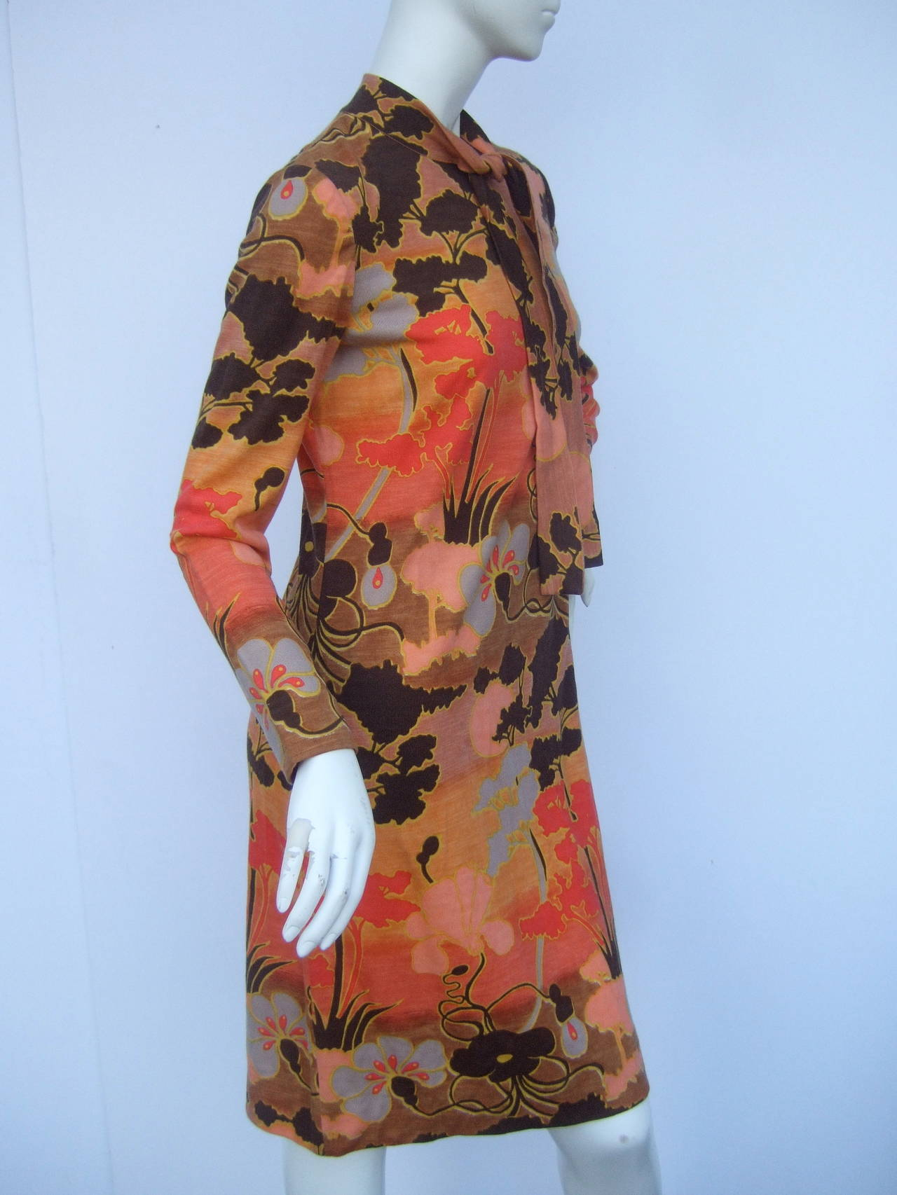 Italian Floral Print Merino Wool Knit Dress c 1970s In New never worn Condition For Sale In Santa Barbara, CA