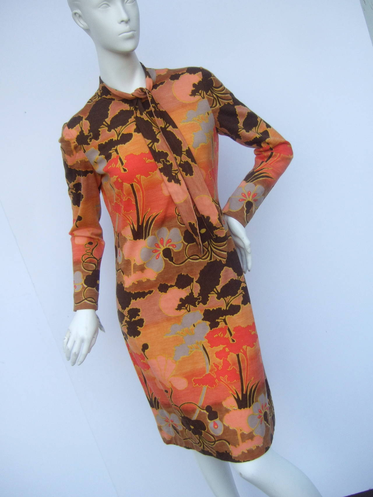 Orange Italian Floral Print Merino Wool Knit Dress c 1970s For Sale