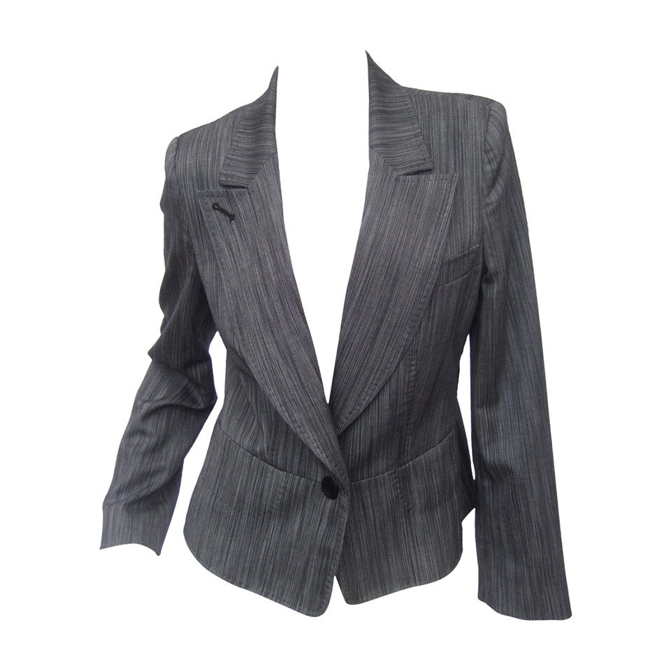 Herve Leger Paris Gray wool tailored jacket US Size 4 For Sale