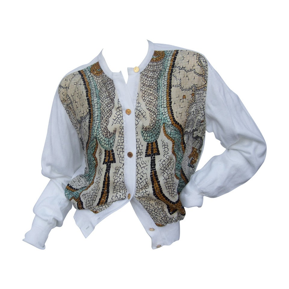 Hermes Paris Silk & Cotton Gilt Button Cardian Size 42