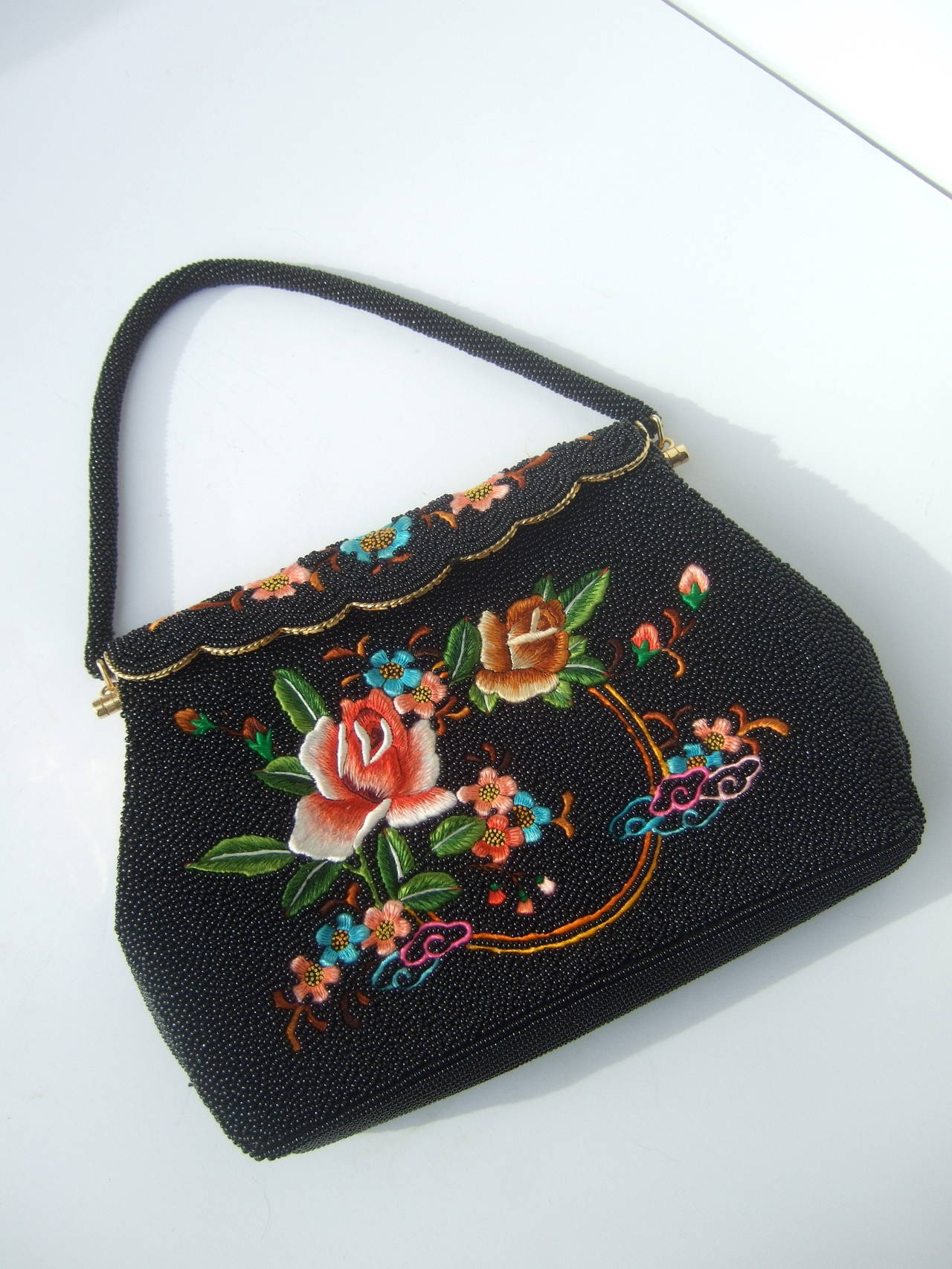 Exquiste Black Glass Beaded Embroidered Evening Bag c 1960 4