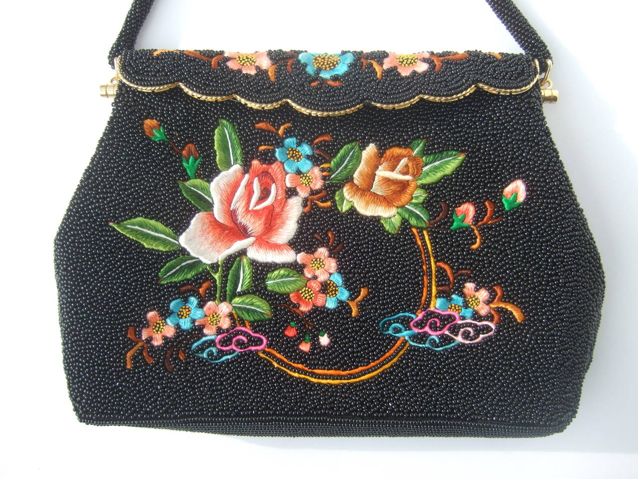 Exquiste Black Glass Beaded Embroidered Evening Bag c 1960 2