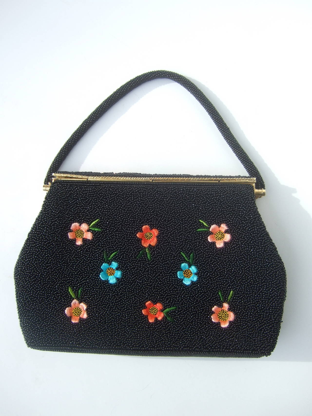 Exquiste Black Glass Beaded Embroidered Evening Bag c 1960 5