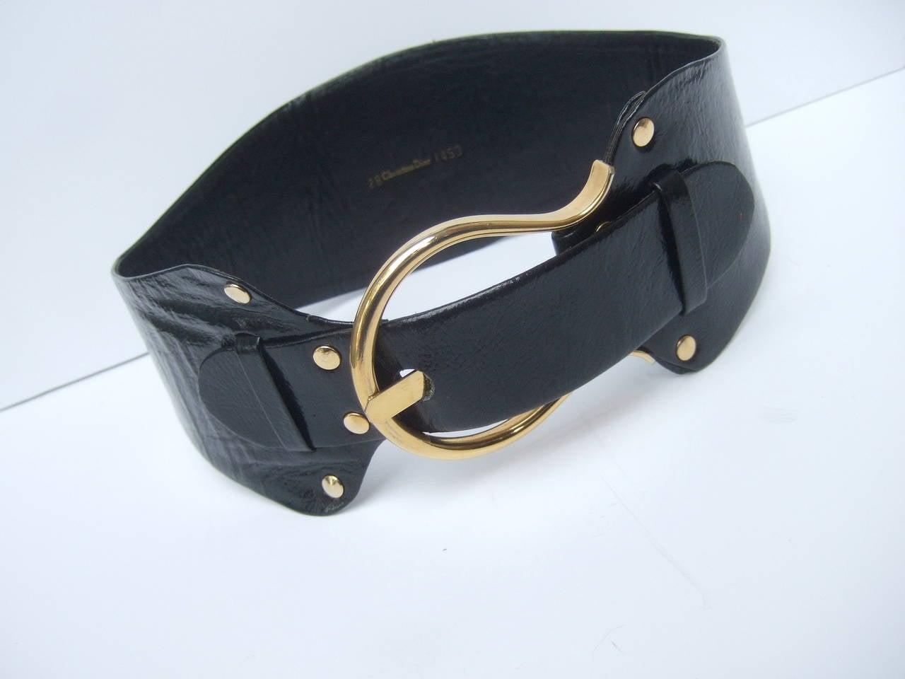 Christian Dior Wide Black Leather Vintage Belt c 1970 3