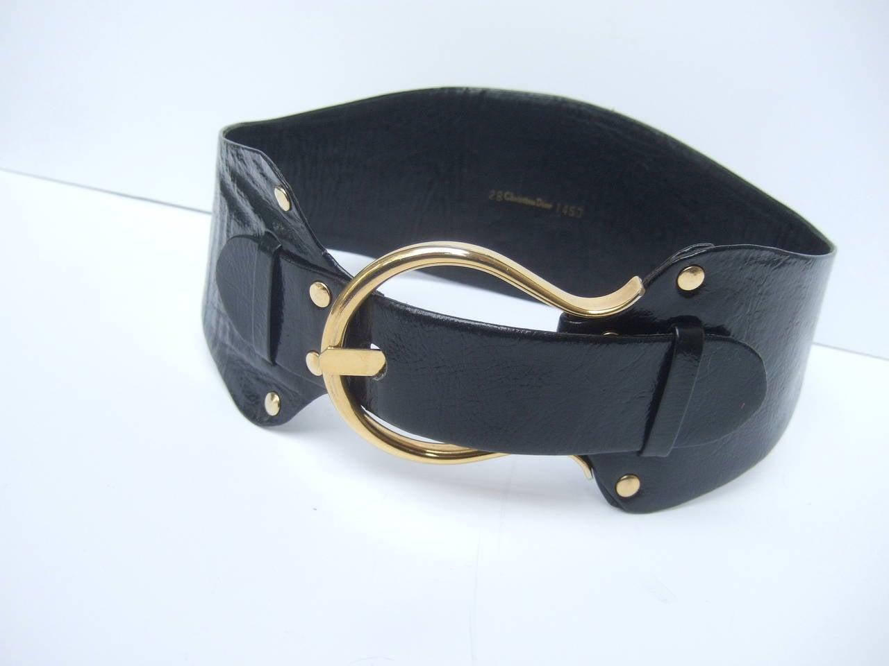 Christian Dior Wide Black Leather Vintage Belt c 1970 4