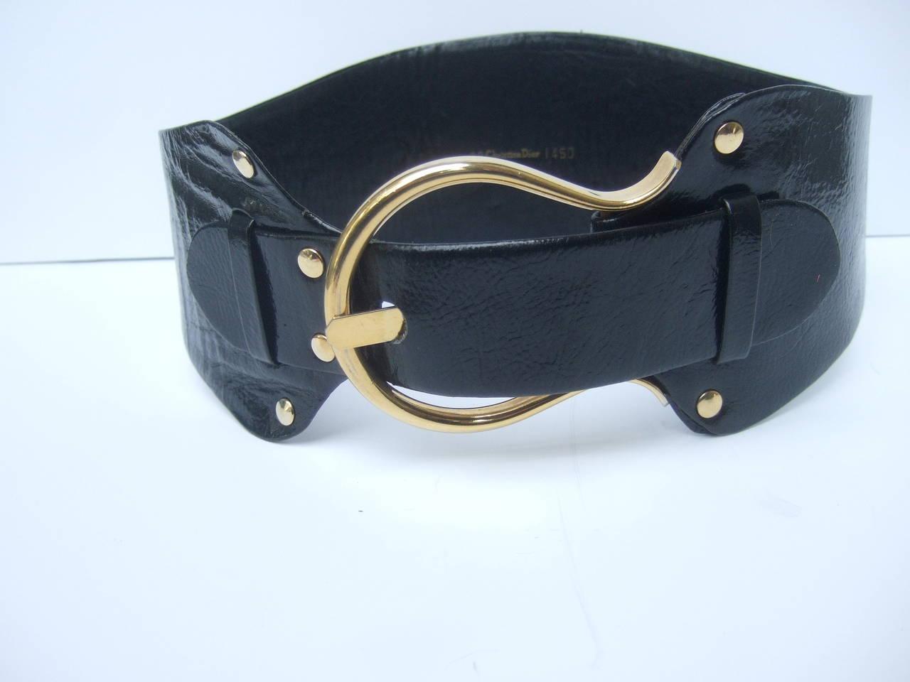 Christian Dior Wide Black Leather Vintage Belt c 1970 2