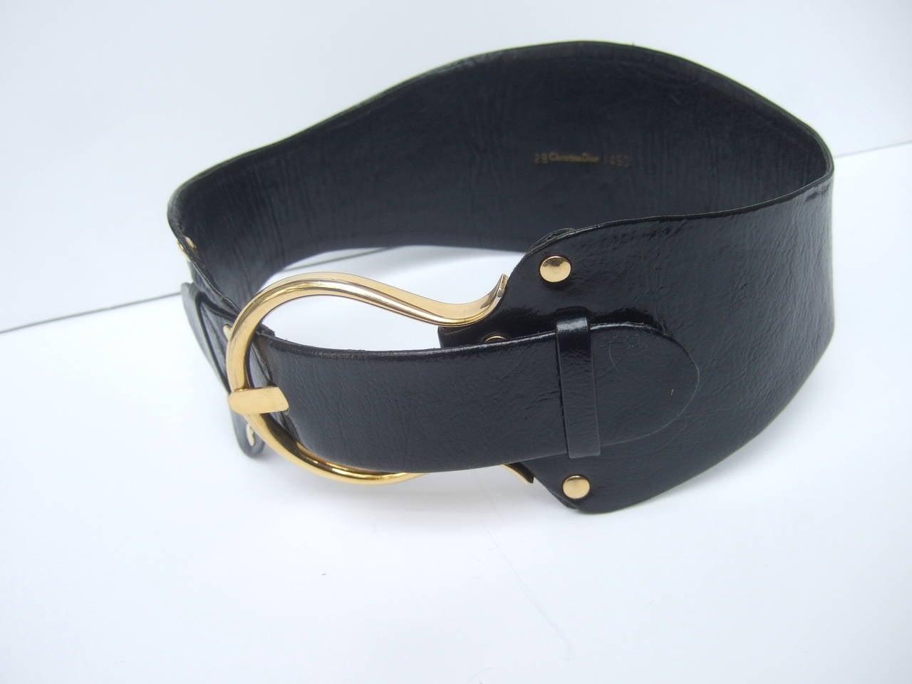 Christian Dior Wide Black Leather Vintage Belt c 1970 5