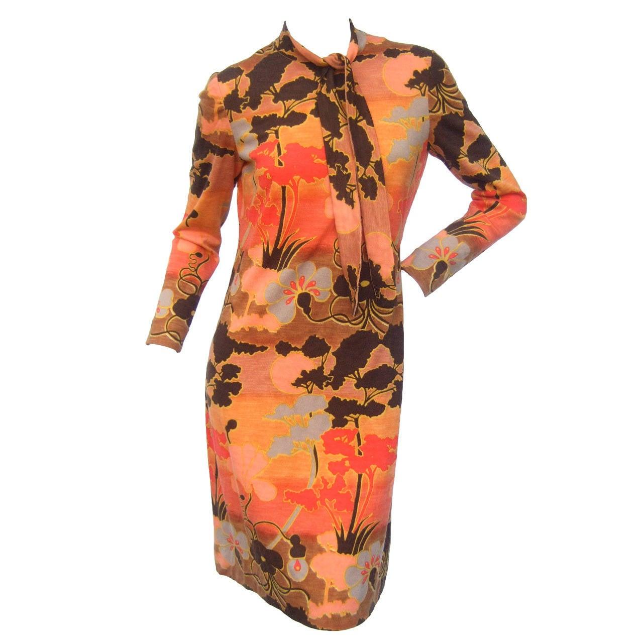 Italian Floral Print Merino Wool Knit Dress c 1970s For Sale