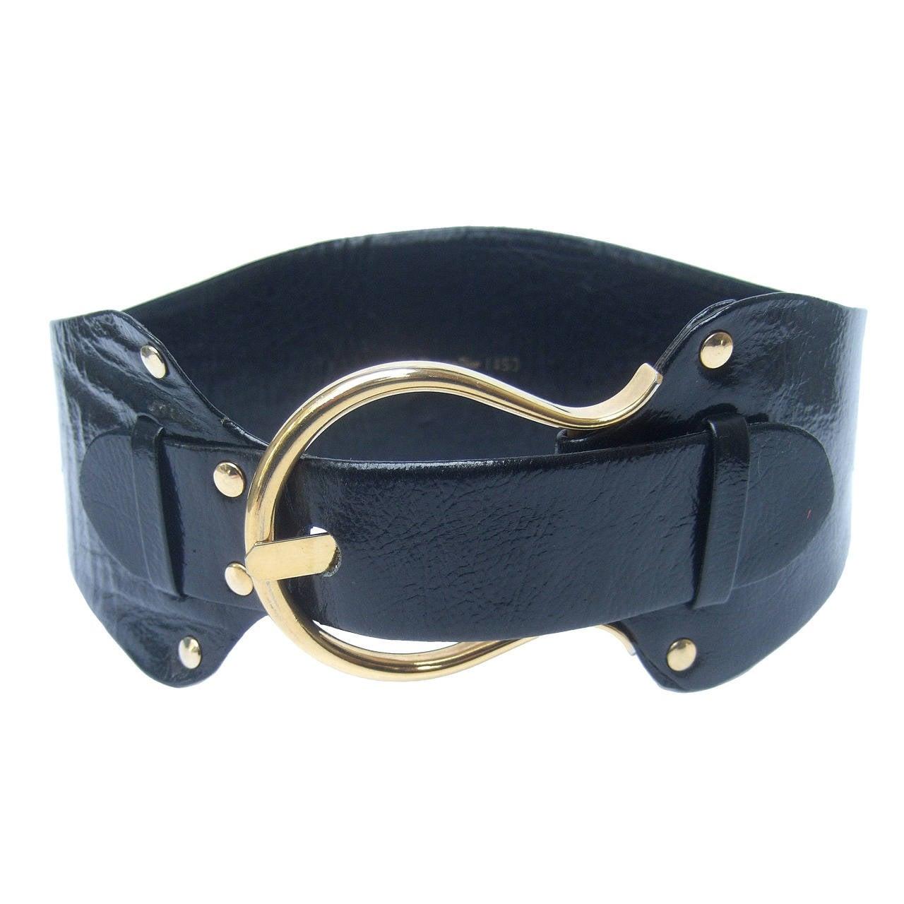 Christian Dior Wide Black Leather Vintage Belt c 1970 1