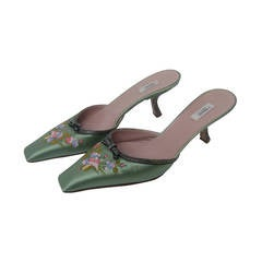 Prada Mint Green Satin Embroidered Mules Size 37.5 Made in Italy