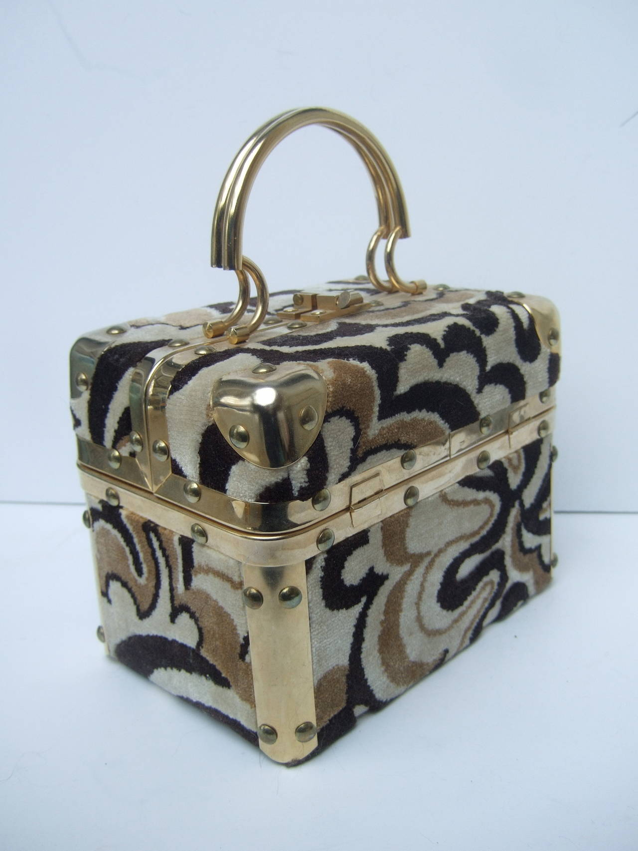 Brown Mod Cut Velvet Italian Box Handbag c 1970 For Sale