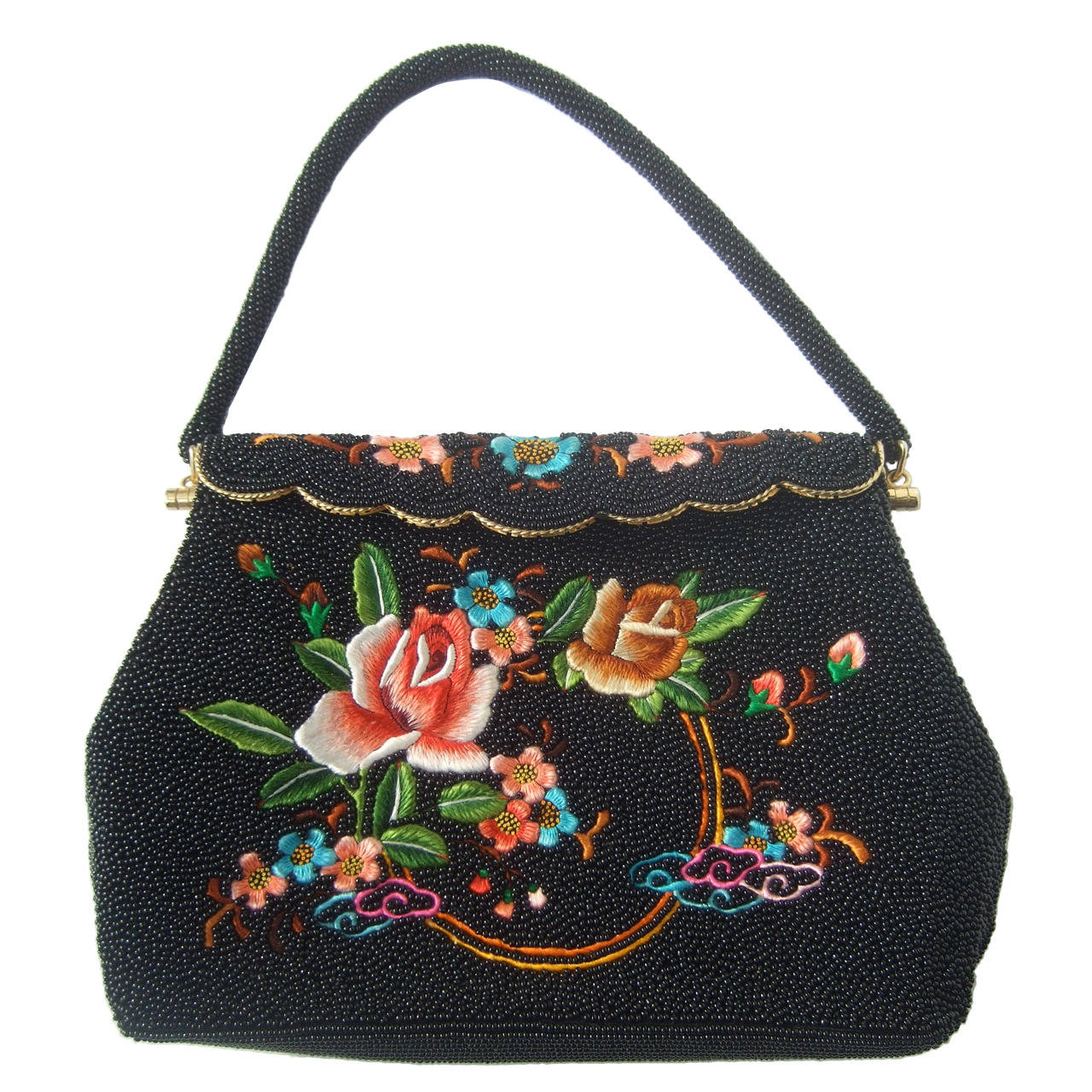 Exquiste Black Glass Beaded Embroidered Evening Bag c 1960 1