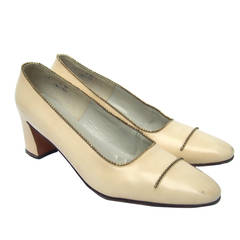 Roger Vivier Paris Ivory Leather Beaded Pumps c 1970
