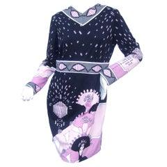 Paganne by Gene Berk 1970s Erte Style Print Jersey Knit Dress