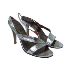 Yves Saint Laurent Paris Silver Snakeskin Heels US Size 6.5 M