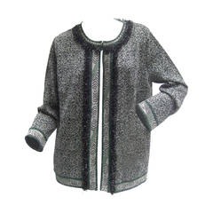 Missoni Italy Silver Metallic Knit Cardigan