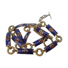Gucci Sleek Cobalt Enamel Gilt Link Belt c 1970