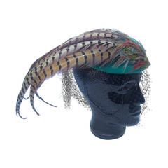 Dramatic Green Felt Feather Veiled Hat c 1980s