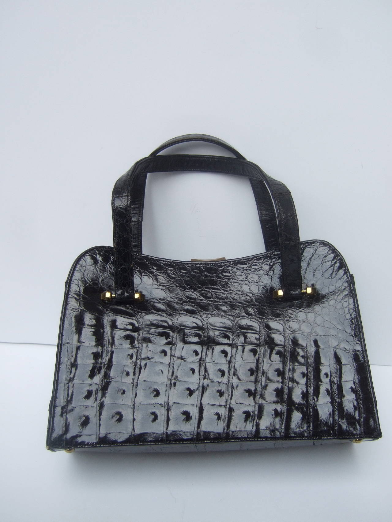 Exotic Sleek Black Alligator Handbag c 1960 For Sale 1