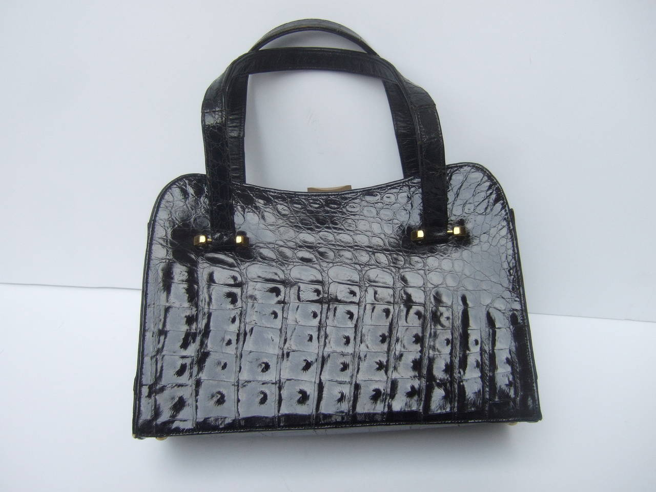 Gray Exotic Sleek Black Alligator Handbag c 1960 For Sale